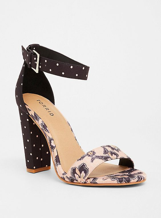 89042420953 Plus Size Pink   Navy Paisley Dot High Heel Sandal (Wide Width)