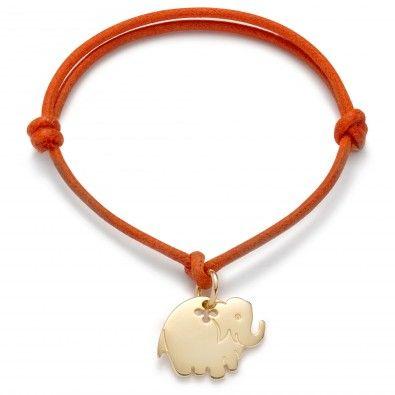 Bransoletka ze słoniem na sznurku