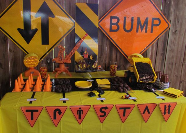 "Photo 1 of 14: construction, trucks / Birthday ""Tristan's Construction L.L.C.""   Catch My Party"