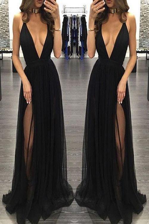 Sexy Spaghetti Straps Deep V-neck Sleeveless Black Prom Dress,Tulle Prom Party Dress,N515