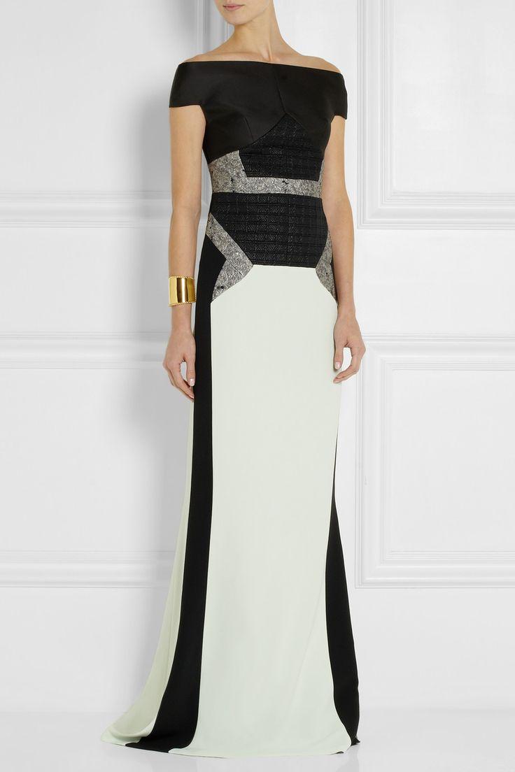 Antonio Berardi|Metallic-paneled jacquard, satin-twill and crepe gown|NET-A-PORTER.COM