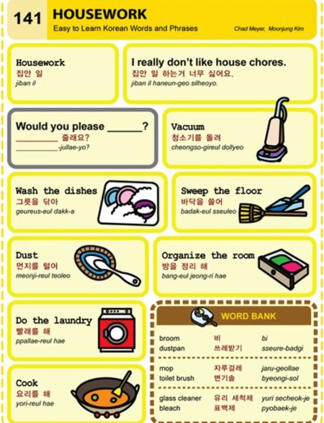 Learn Korean: Housework. Yeah, Probably My Least Favorite
