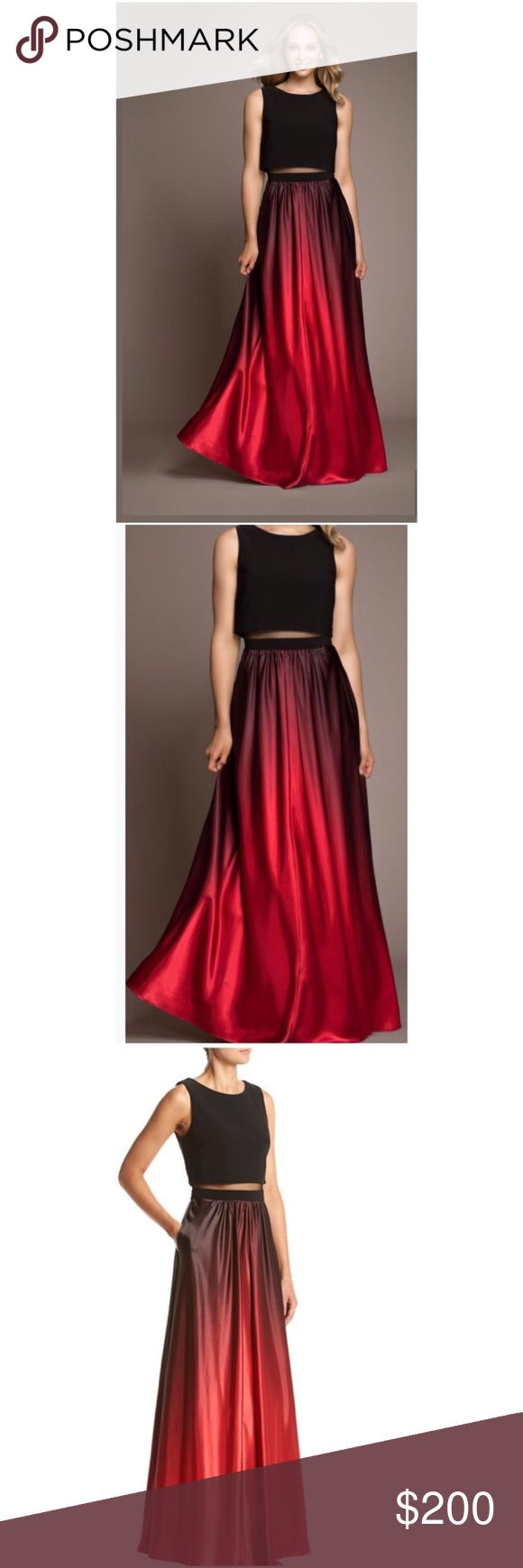 Betsy & Adam Ombré Gown Size 4 ❗️no offers❗️ Betsy & Adam Illusion 2 Pc. Ombré Gown Black And Red Dress Size 4 • an illusion panel links a cool crop top and high waist skirt on a trendy gown dipped in luscious shades of ombré  • Hidden back zipper with hook and eye closure  • Hits at floor ❗️price is firm pls ❗️ Betsy & Adam Dresses Prom