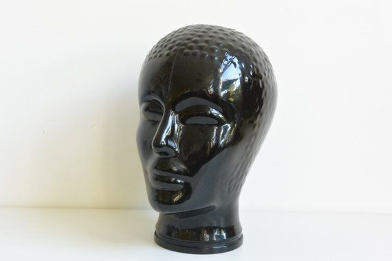 Retro Black Glass Head Manequen Seventies display or hat holder