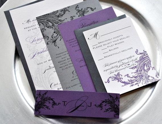 Hearts Of Glory Purple Grape Shimmer Filigree Pocket Wedding Invitation Black Envelopes And