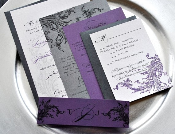 Limeade Wedding Invitation Suite With Belly Band Purple Black Pewter Silver And Off White Light Ivory