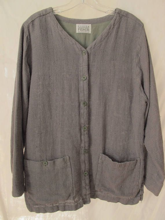 Grey Artist's Smock Top Eileen Fisher Loose Fit Plus Size