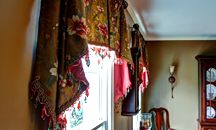 Contemporary valance jabots floral fabric embroidered faux silk dining room wrought iron hardware beaded fringe