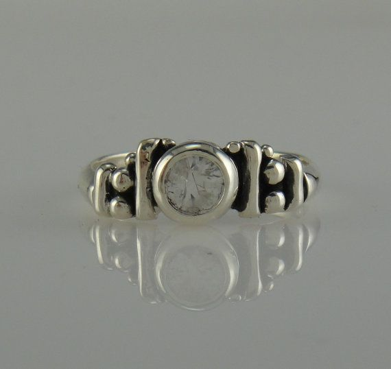 Sterling Silver White Sapphire Ring One of a by DenimAndDiaJewelry, $200.00