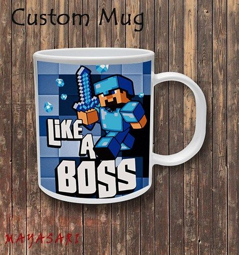 Minecraft Creeper Blue Like a Boss Custom Mug Coffee or Tea Your favorite photo or funniest saying is a great way to start the day Use our white custom mug