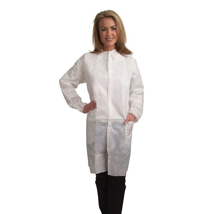 TOY ! White Disposable Polypropylene Lab Coat - Medium