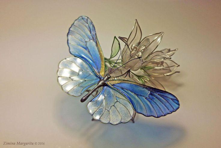 Купить Синяя Бабочка - синий, золотой, бабочка, блестящий, яркий, необычный, зимина маргарита, медь