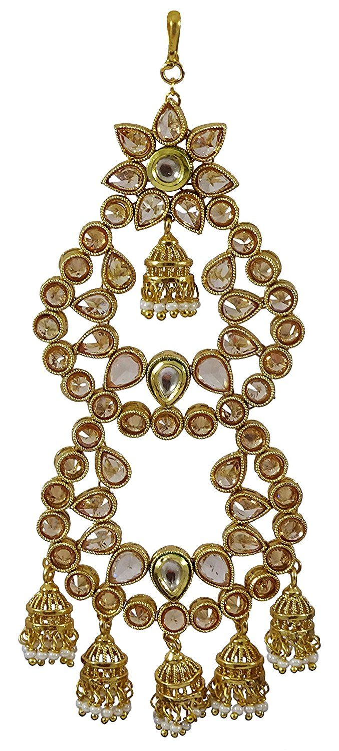 Matra Ethnic Goldtone Traditional Indian Kundan Jhumar Passa Tikka Forehead Jewellery *** More info could be found at the image url. #JewellerySets