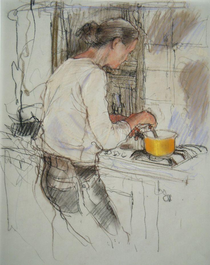 Yellow saucepan .  Drawing - charcoal & pastel.  Felicity House