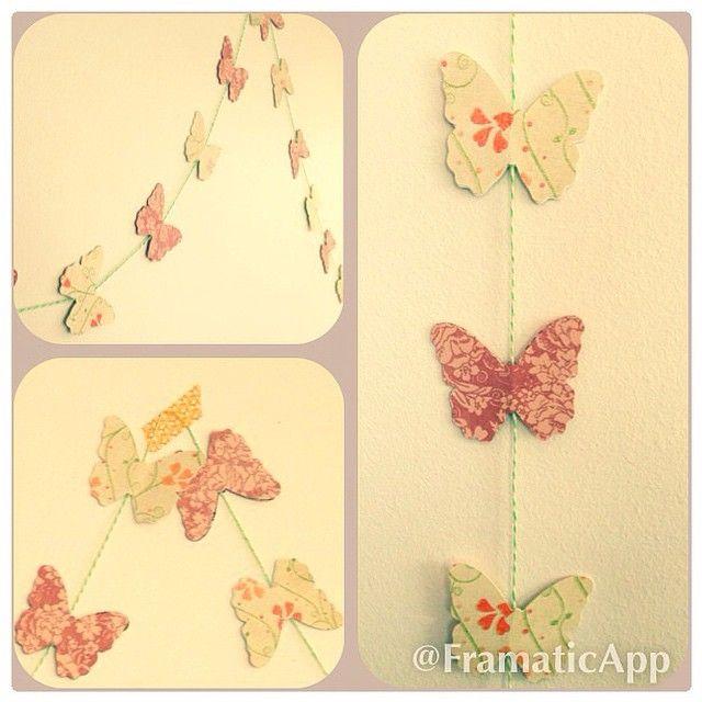 Guirnalda de mariposas de papel! 2,85 mts $12.000. Cordelito largo para que la amarres o la pegues con washi tape .También puedes mandar a hacer la tuya de los colores y largo ir quieras! ❤️✨