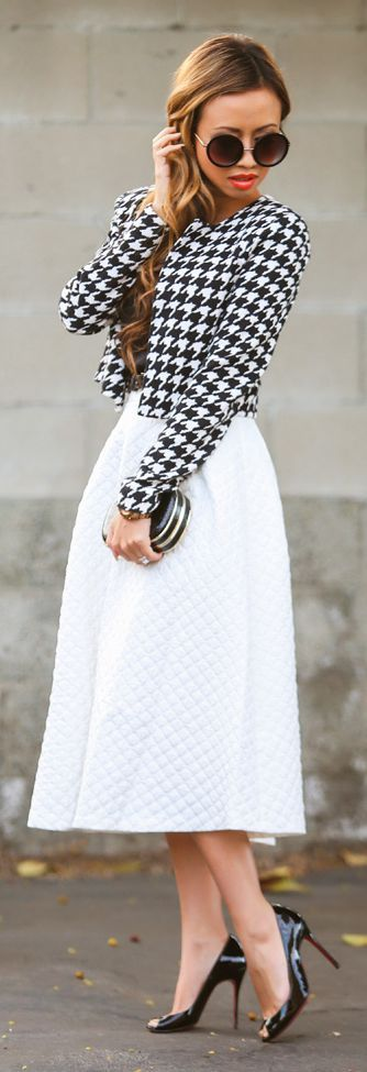 Black And White Gingham Print Jacket