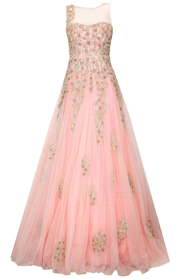 Pastel pink floral embroidered gown available only at Pernia's Pop Up Shop.