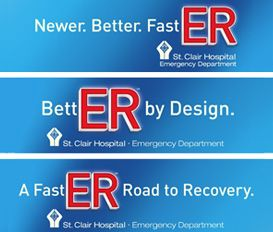 The ER Campaign done for St. Clair Hospital highlights the new ER with shorter waits, better care as seen from the eyes of real patients.