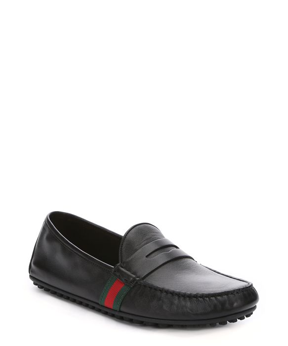 black leather web stripe driving loafers