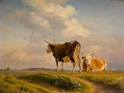 johan thomas lundbye | Lundbye, Johan Thomas : To køer på en åben mark. 1845.