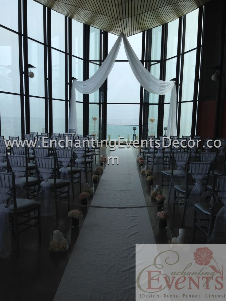 Spencers at the Waterfront, Burlington, Ceremony Decor, Aisle Runner, Florals, Candles, Chair Sashes.