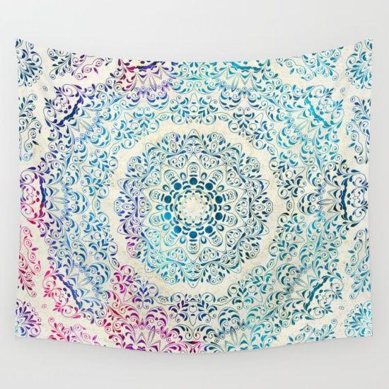 Watercolor Mandala Wall Tapestry
