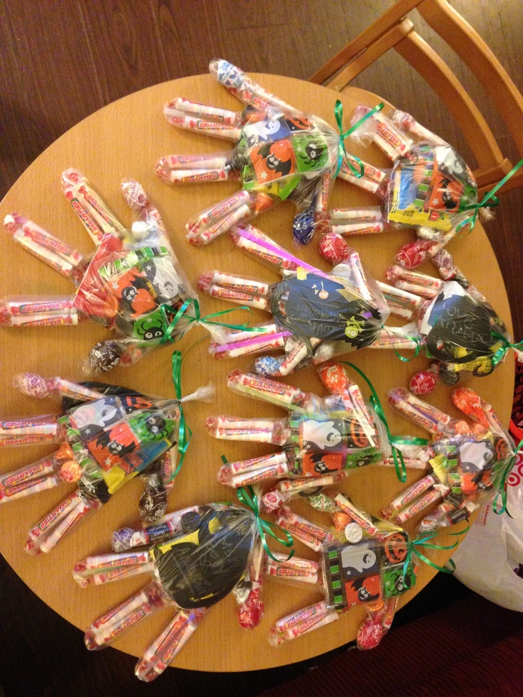 gloves used as candy goodie bags