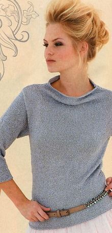 Love the neckline; non bulky material and not too tight body styling...yeah, all plusses in my book.