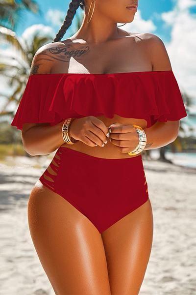 d48a9a1163 Ruffle Top Off the Shoulder High Waist Bikini Bathing Suit - Whatlovely
