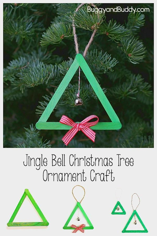 Popsicle Stick And Jingle Bell Christmas Tree Ornament Buggy And Buddy Christmas Bells Jingle Bell Crafts Preschool Christmas