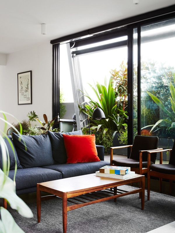 Living room looking out to North part of balcony. Photo – Annette O'Brien for The Design Files.