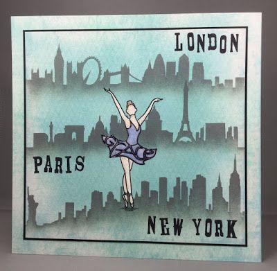 London, Paris, New York. Claritystamp ballerina card.