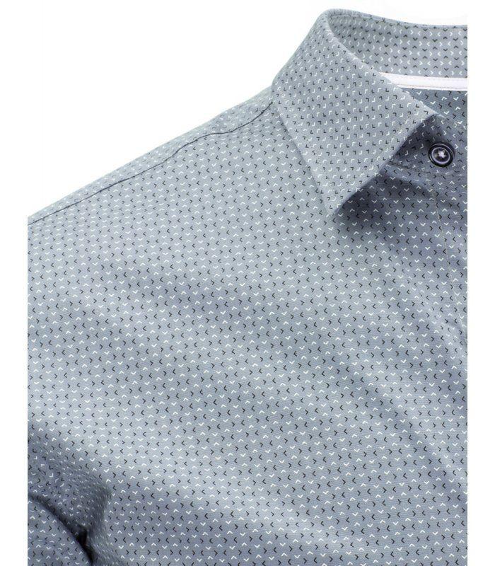 Šedá vzorovaná elegantná košela s krátkymi rukávmi
