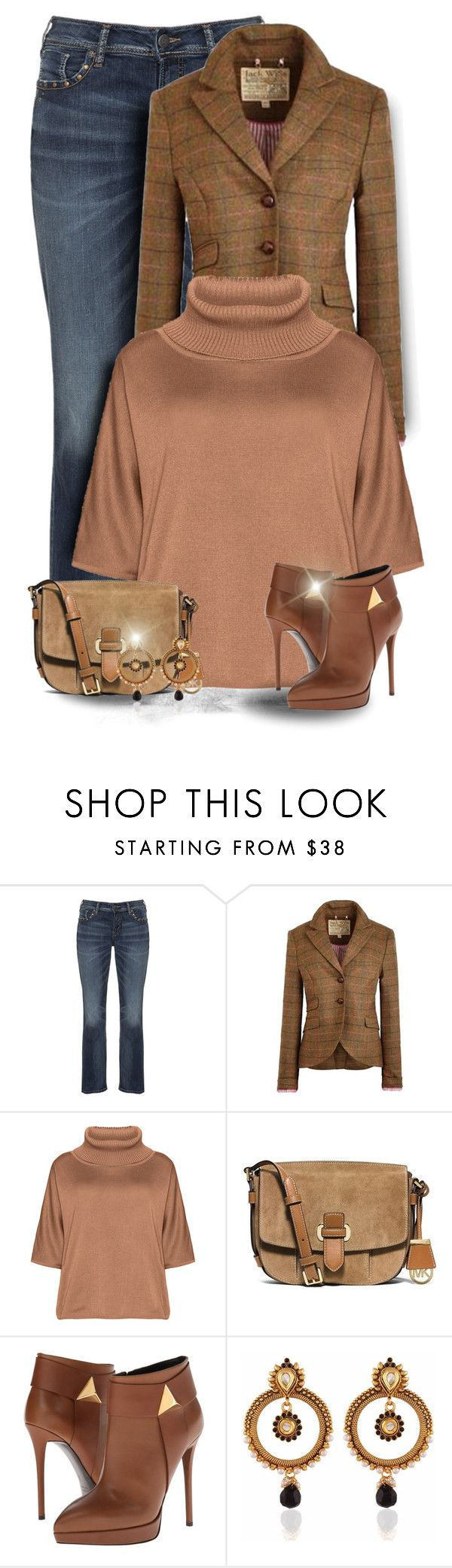 """Casual Brown"" by majezy ❤ liked on Polyvore featuring Silver Jeans Co., Jack Wills, Isolde Roth, MICHAEL Michael Kors and Giuseppe Zanotti"