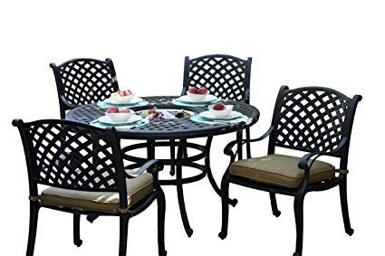 Darlee Nassau Cast Aluminum 5 Piece Dining Set With Seat Cushions