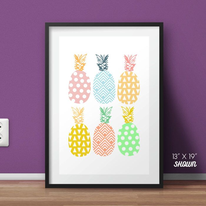 Colorful Pineapple poster, preppy pineapple print by HommeSurLaLune on Etsy https://www.etsy.com/listing/210628641/colorful-pineapple-poster-preppy