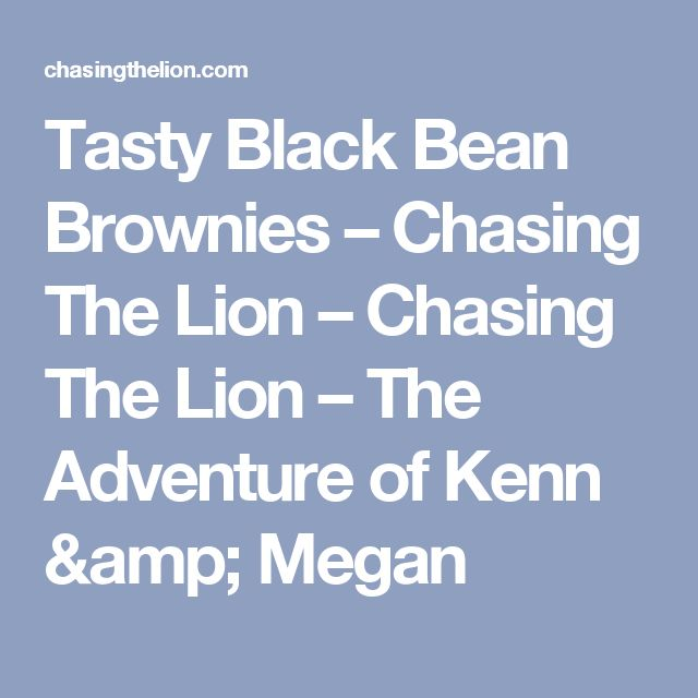Tasty Black Bean Brownies – Chasing The Lion – Chasing The Lion – The Adventure of Kenn & Megan