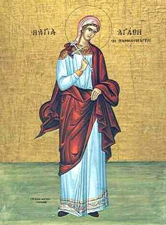 Icon of St. Agatha, Virgin-Martyr of Catania in Sicily