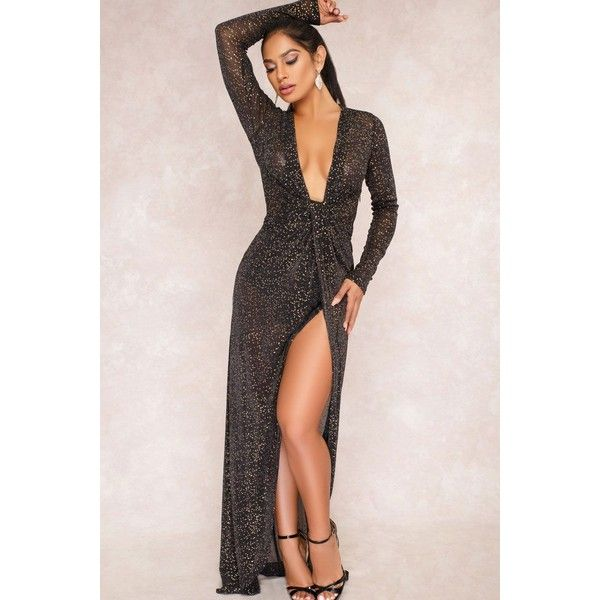 Black Plunging Glitter See Through High Slit Sexy Maxi Skort Dress ($31) ❤ liked on Polyvore featuring dresses, maxi dresses, long evening dresses, cocktail party dress, long party dresses and sexy prom dresses