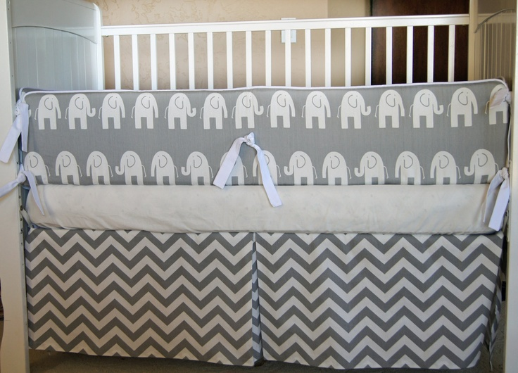 Design Your Own Custom Crib Baby Bedding - Gray and White Chevron and Elephants. $269.00, via Etsy.