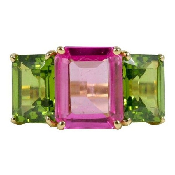 18kt Yellow Gold Emerald Cut Ring With Pink Topaz And Peridot ($2,900) ❤ liked on Polyvore featuring jewelry, rings, yellow, gold peridot ring, gold ring, pink topaz jewelry, gold jewelry and emerald cut peridot ring