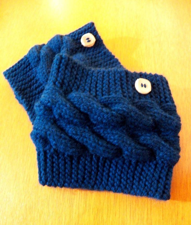 Boots Cuffs\Mini polaina com motivos de cordas em tricot com fio de lã quentinho, macio e resistente.