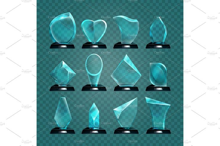 Set of isolated glass trophy for winning award by Elegant Solution on @creativemarket