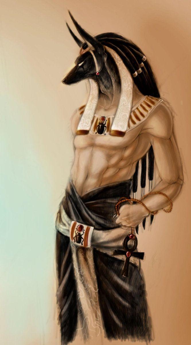 Anubis, de REYKAT...Anubis es el Dios de la muerte egipcio y el pesador de almas, en un plato de la balanza la pluma de la Divinidad Maat (la Divinidad de la Justicia, la Pureza y la Verdad), en el otro plato el corazón del fallecido/la fallecida...si el corazón pesa más,el alma va derechita a las fauces del cocodrilo y al Infierno, si se equilibra con la Pluma de la Divinidad Maat, el alma va al Barco del Sol o Barco de Ra y al Paraíso.