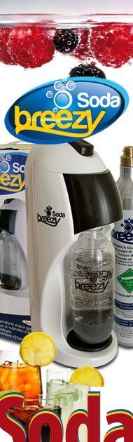 Il gasatore acqua Soda Breezy, trasforma l'acqua del rubinetto in acqua frizzante in pochi secondi. Non richiede energia elettrica. Con il soda Breezy è possibile ottenere bibite gassate miscelando l'acqua con i concentrati di proprio gusto, come Cola o Arancia.
