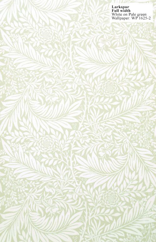 William Morris reproduction wallpaper: Larkspur. Designed by William Morris in 1872. $225 per 33' (double) roll.
