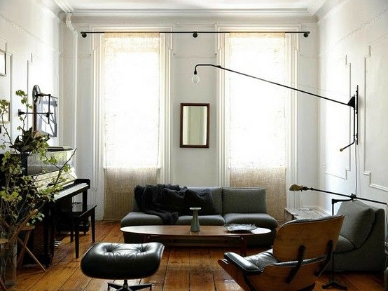 groovy lamp...window treatments are unexpescted and furniture arrangement makes for an unfussy statement  [CasaGiardino]