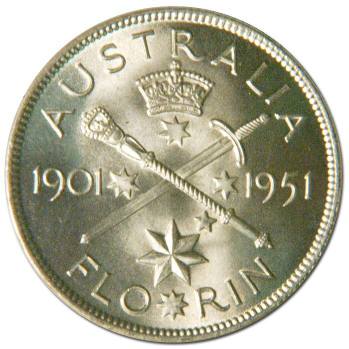 Australian Florin 1951 Jubilee of Federation (Reverse). A pattern for the coin proposed to be issued to mark the fiftieth anniversary of Federation, 1901 - 195. It was struck in London where the dies were prepared and struck with the standard fine British milling on a cupro-nickel blank.