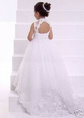 beautiful lace flower girl dress, looks like a mini of me in my wedding dress