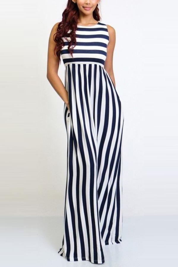 c0096665faf Stripe Sleeveless Wide Leg Jumpsuit